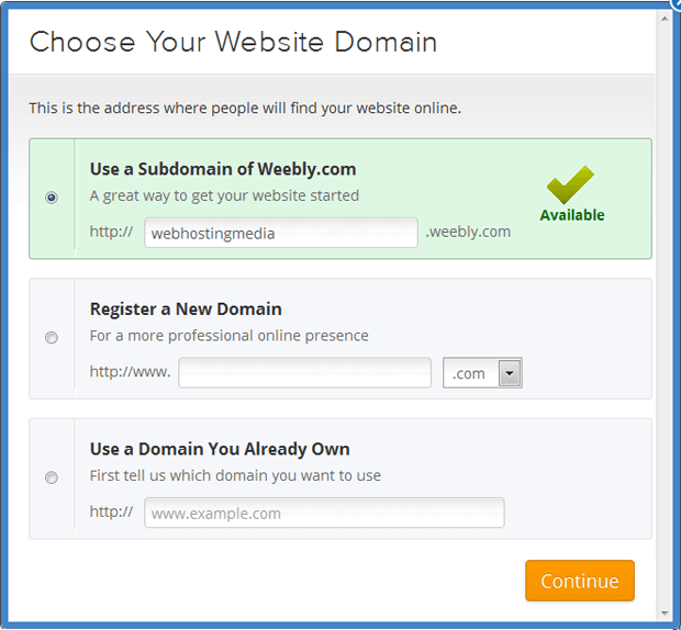 weebly choose your website domain