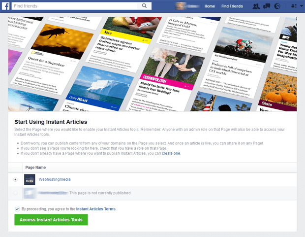 facebook instant articles signup process