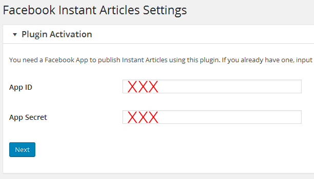 facebook instant articles wordpress plugin activation