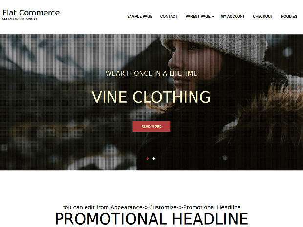 flat commerce free woocommerce wordpress theme
