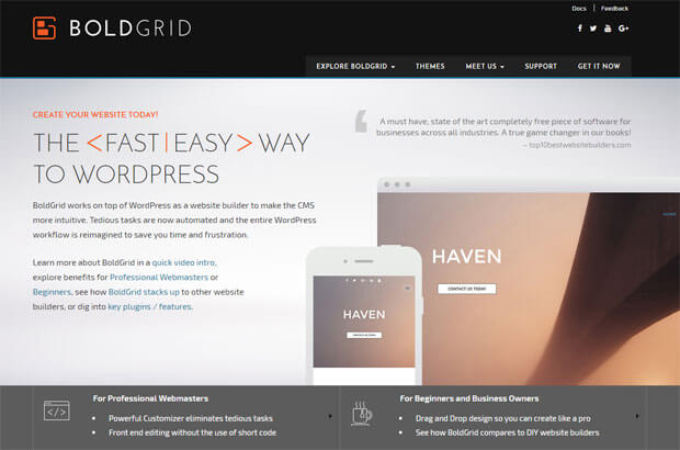 boldgrid wordpress page builder