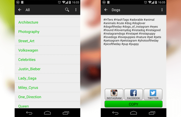 hashtags instagram app android