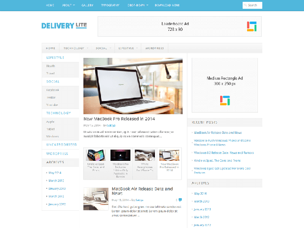 delivery lite free wordpress theme