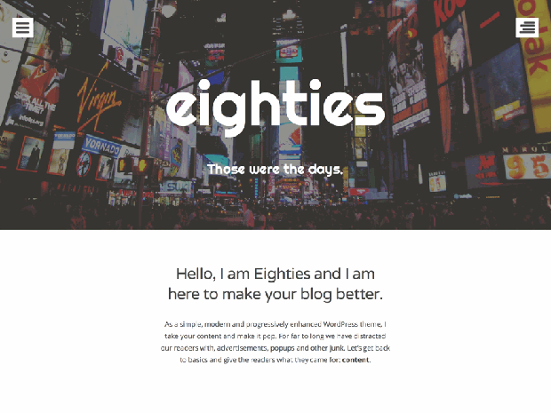 eighties free wordpress theme