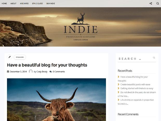 indie free wordpress theme