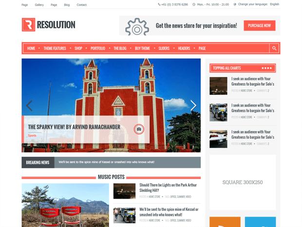 resolution free wordpress theme