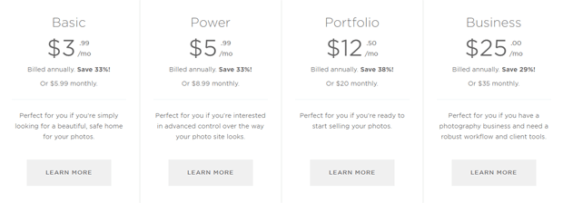 smugmug plans pricing