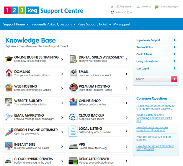 123 reg online support centre