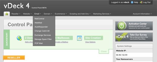 vdeck control panel screenshot