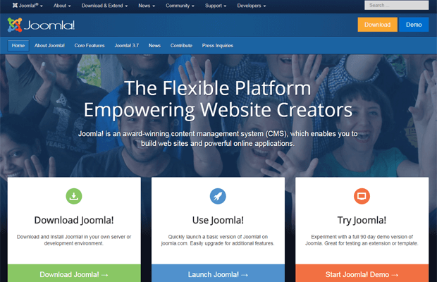 joomla cms official website screenshot 2017