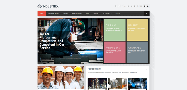 industrix responsive business joomla template