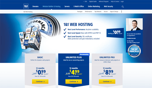 1and1 web hosting pros and cons