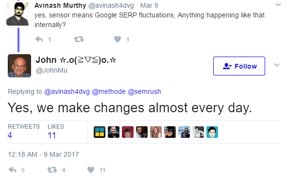 google makes changes every day