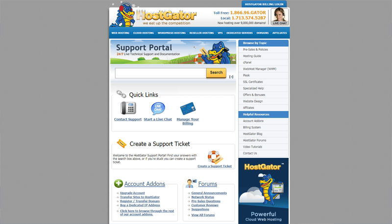 hostgator support pros and cons