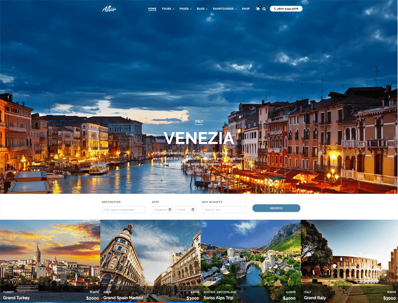 altair travel agency wordpress theme