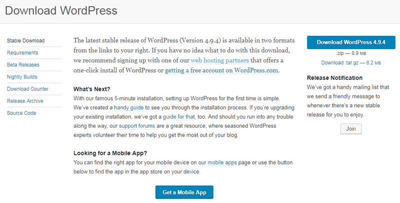 download wordpress org