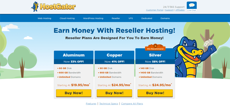hostgator reseller hosting plans