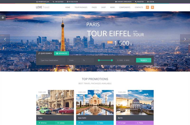 love travel agency wordpress theme