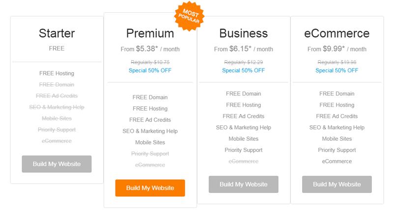 websitebuilder com free plan