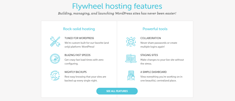 flywheel hosting features