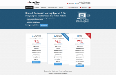 inmotion best hosting fitness websites