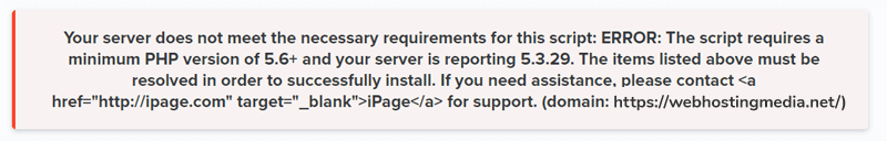 ipage-joomla-install-error-php-version